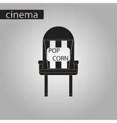 Black and white style icon popcorn cinema vector