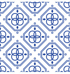 blue and white geometric mediterranean seamless vector image vector image