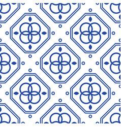Blue and white geometric mediterranean seamless vector