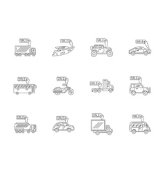 Car rent and sale flat line icons set vector image vector image
