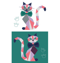 Cat from geometric figures vector