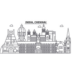 Chennai india architecture line skyline vector