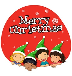Christmas theme with kids in green hat vector