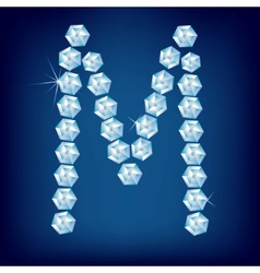 diamond alphabet letter m vector image