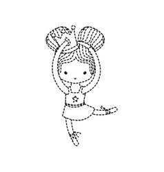 Dotted shape girl practice perfomance with crown vector