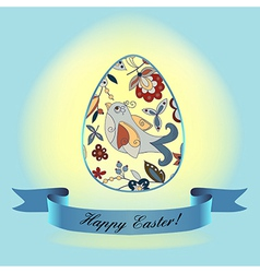easter bird blueribbon vector image