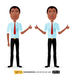 Glad smile happy african american business vector