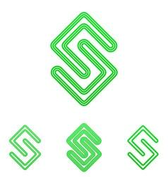 Green line science logo design set vector