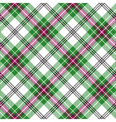 Green white pink tartan diagonal plaid seamless vector