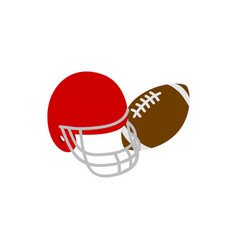Helmet and ball rugby icon isometric 3d style vector image