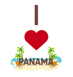 I love panama travel palm summer lounge chair vector