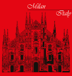 Milan cathedral in italy on red background vector