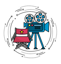 Movie camera with reel scene and director seat vector