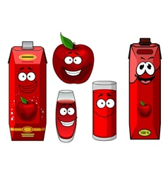 Natural red apple fruit and juice cartoon vector image