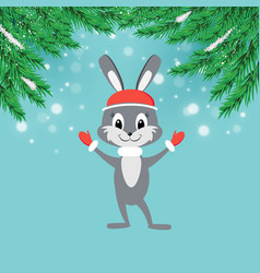 New year greeting card with cartoon bunny in red vector