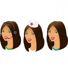 profession women avatars set vector image vector image