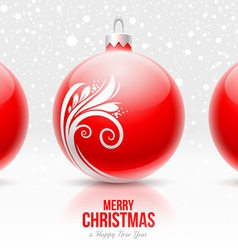 Red baubles with white decor - Christmas design vector image