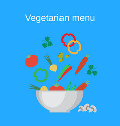 salad bowl and fresh vegetables vector image