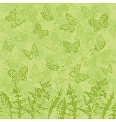 Seamless pattern leaves and butterflies vector image vector image