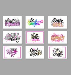 Set slogans in girlish concept pink color vector