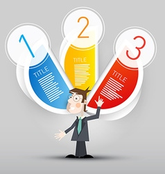 Three Steps Paper Infographic with Business Man - vector image