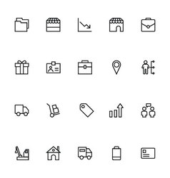 Trade outline icons 5 vector