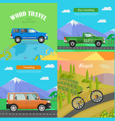 transport collection of four auto vector image