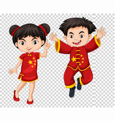 two chinese kids in red costume vector image