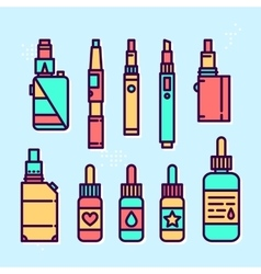 Vape devices and liquids graphic style icon vector