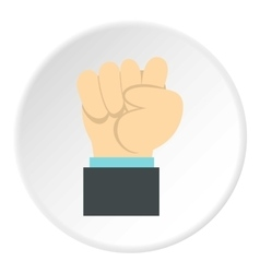 Clenched fist icon flat style vector