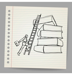 Doodle businessman with wooden ladder standing vector image