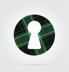 Green black tartan isolated icon - keyhole vector