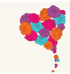 Pink roses heart shape vector image