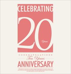 20 years anniversary retro background vector