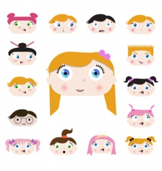 Cartoon kids face vector