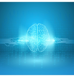 Digital brain on blue background vector