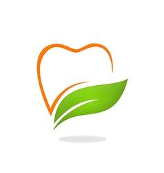 teeth dentist natural herbal logo vector image