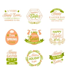 Happy easter labels logos and badges vector