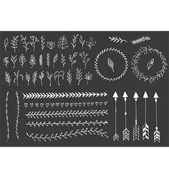 Hand drawn vintage arrows feathers floral vector image
