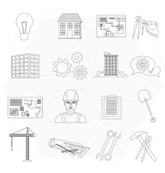 Builder worker construction thin line icons set vector