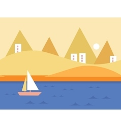 Seamless cartoon nature landscape with yacht vector