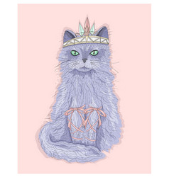Cute purple cat princess with crown vector