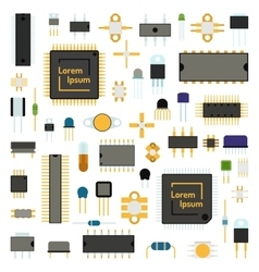 Circuit computer chips icons technology vector
