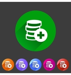 Add money coins wallet icon flat web sign symbol vector