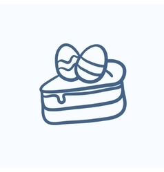 Easter cake with eggs sketch icon vector
