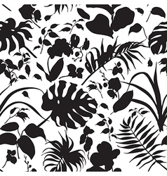 Tropic silhouette pattern black vector
