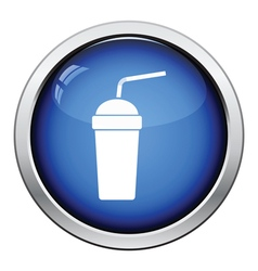 Disposable soda cup and flexible stick icon vector