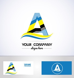Blue yellow letter a logo vector image vector image