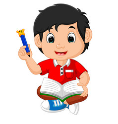 boy writing and drawing vector image