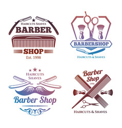 bright barber shop emblems - men haircute salon vector image